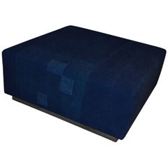 Ottoman Coffee Table Upholstered in Linen Dyed Indigo, France, circa 1860