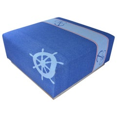 Ottoman Coffee Table Upholstered in Nautical Flannel Blanket on Barn Wood Base