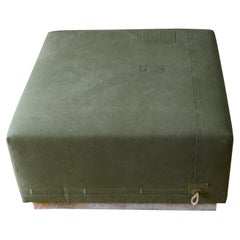 Ottoman Coffee Table Upholstered in Vintage Green Tent Canvas Atop Wood Base