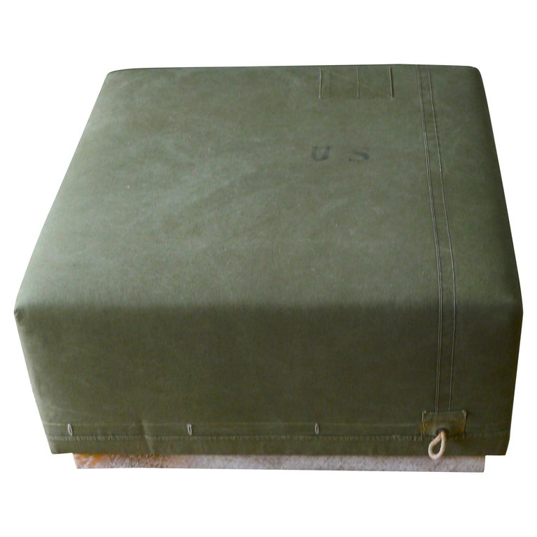 Ottoman Coffee Table Upholstered In Vintage Green Tent Canvas Atop