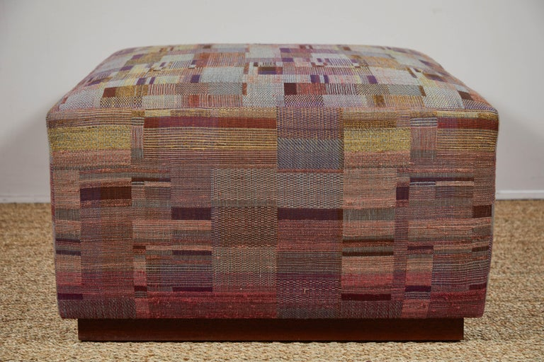 Hand-Woven Ottoman Covered in Handwoven Indian Fabric For Sale