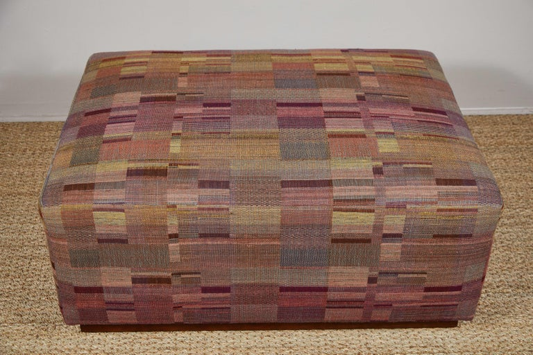 Ottoman Covered in Handwoven Indian Fabric In New Condition For Sale In Los Angeles, CA