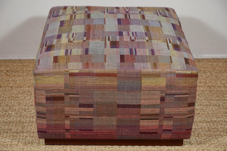 Contemporary Ottoman Covered in Handwoven Indian Fabric For Sale