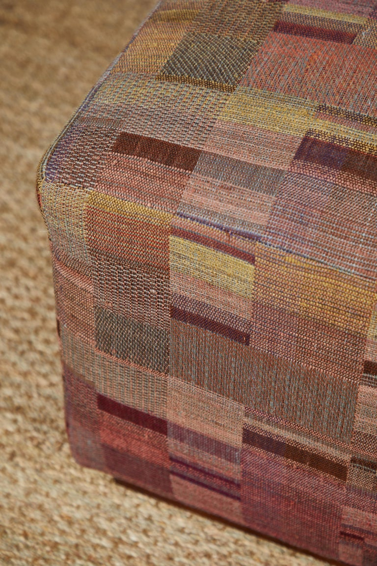 Wool Ottoman Covered in Handwoven Indian Fabric For Sale