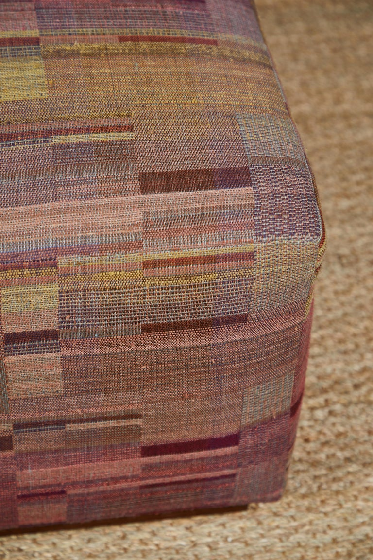 Ottoman Covered in Handwoven Indian Fabric For Sale 1