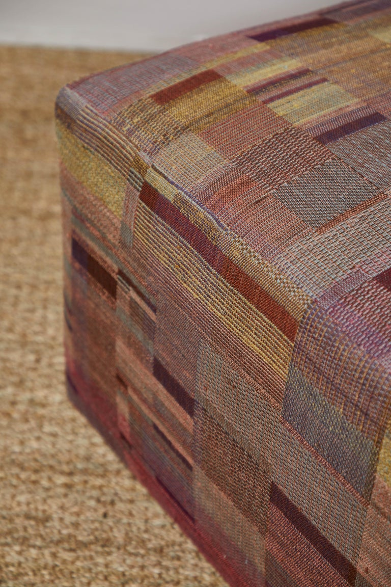 Ottoman Covered in Handwoven Indian Fabric For Sale 2
