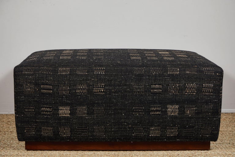 American Ottoman Covered in Handwoven Indian Fabric For Sale