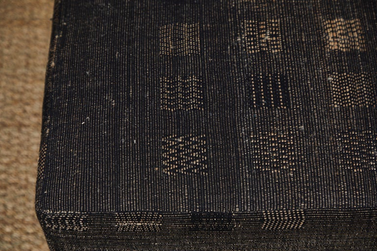 Ottoman Covered in Handwoven Indian Fabric For Sale 3