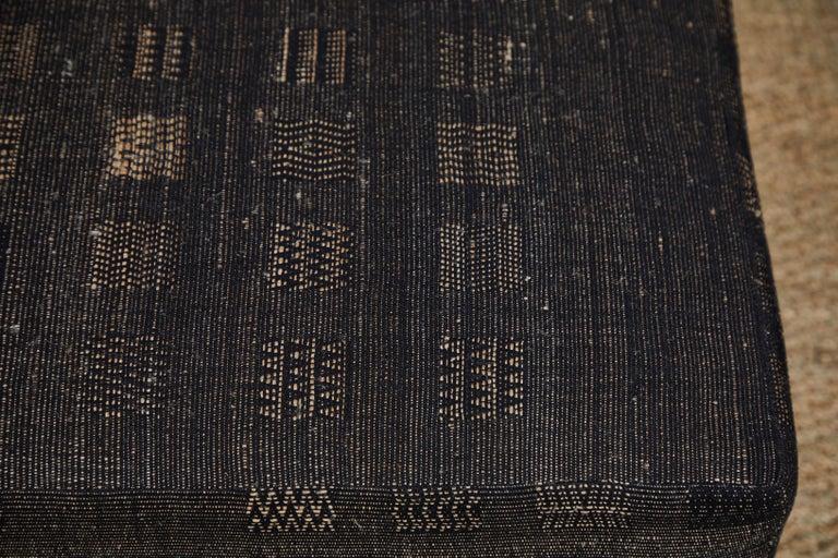 Ottoman Covered in Handwoven Indian Fabric For Sale 4
