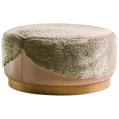 Ottoman in Fur with Walnut Base in Leather