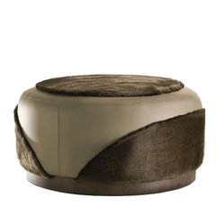 Ottoman in Furs Brown Ottoman