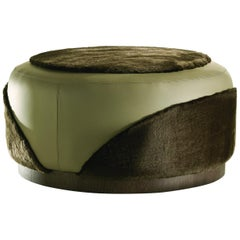 Ottoman in Furs with Dark Oak Base in Leather
