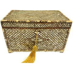 Ottoman Jewelry Box Inlaid with Mother-of-Pearl and Camel Bone