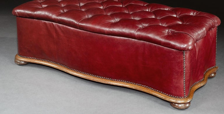 Ottoman, Leather, 19th Century, English, Victorian, Mahogany, Serpentine, Tufted For Sale 2