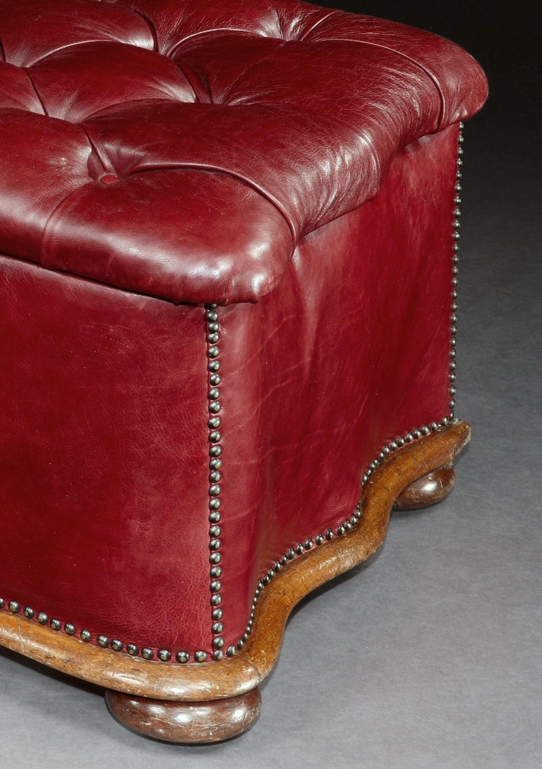 Ottoman, Leather, 19th Century, English, Victorian, Mahogany, Serpentine, Tufted For Sale 3