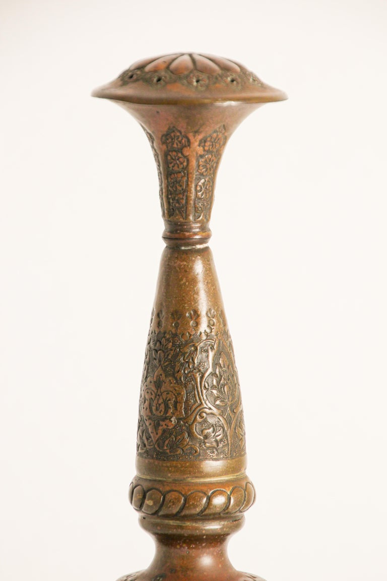 Ottoman Mameluke Decorative Copper Rosewater Perfume Sprinkler For Sale 4