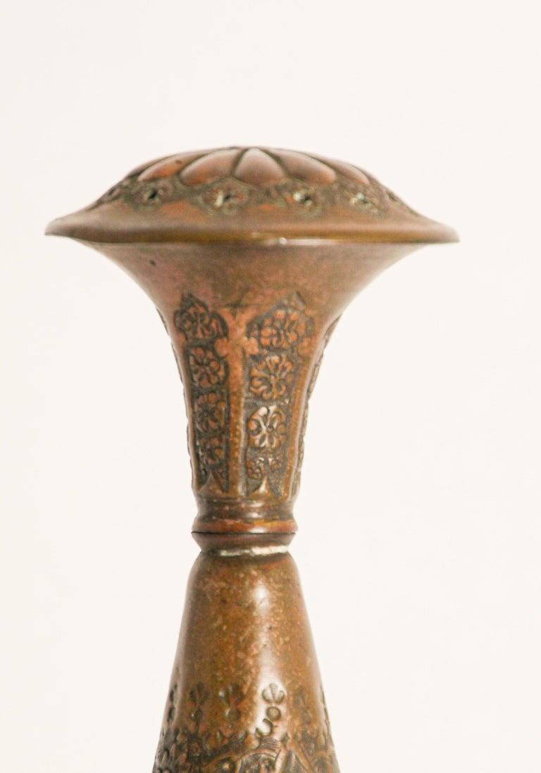 Embossed Ottoman Mameluke Decorative Copper Rosewater Perfume Sprinkler For Sale