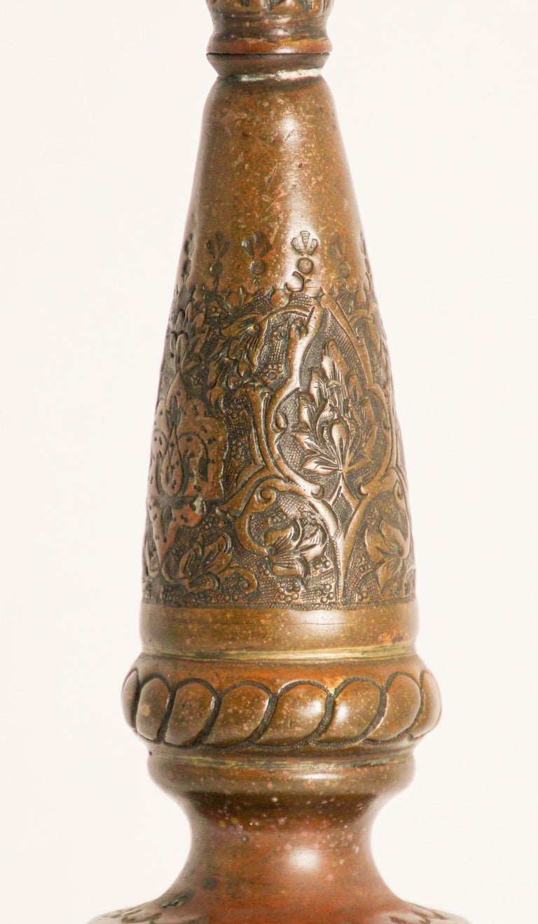 Ottoman Mameluke Decorative Copper Rosewater Perfume Sprinkler In Good Condition For Sale In North Hollywood, CA