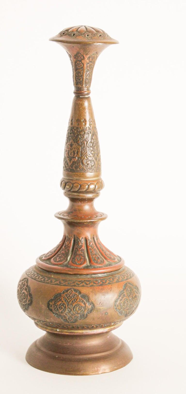 Ottoman Mameluke Decorative Copper Rosewater Perfume Sprinkler For Sale 2