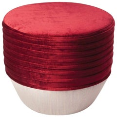 Ottoman Pouf Stool with Soft Red Velvet Nazaré