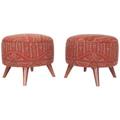 Ottoman / Poufs Upholstered with a 19th Century French Paisley Shawl