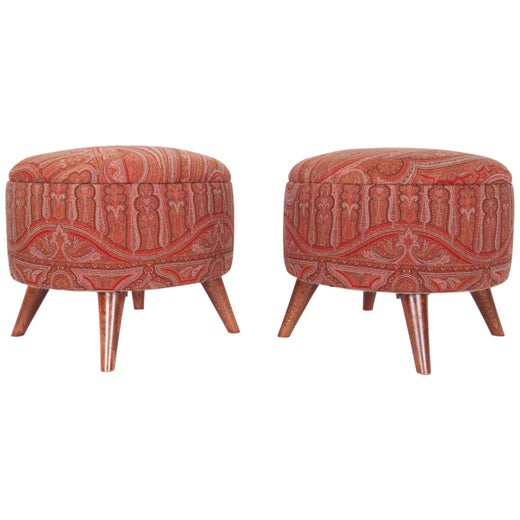 Phenomenal Ottoman Poufs Upholstered With A 19Th Century French Creativecarmelina Interior Chair Design Creativecarmelinacom