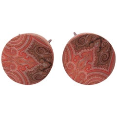 Ottoman / Poufs Upolstered with a 19th Century French Paisley Shawl