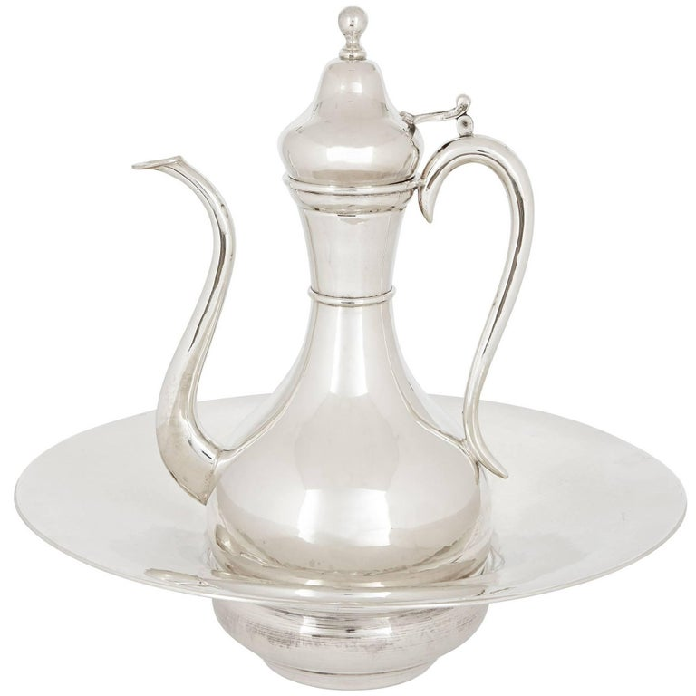 Ottoman Style Silver Ewer and Basin For Sale