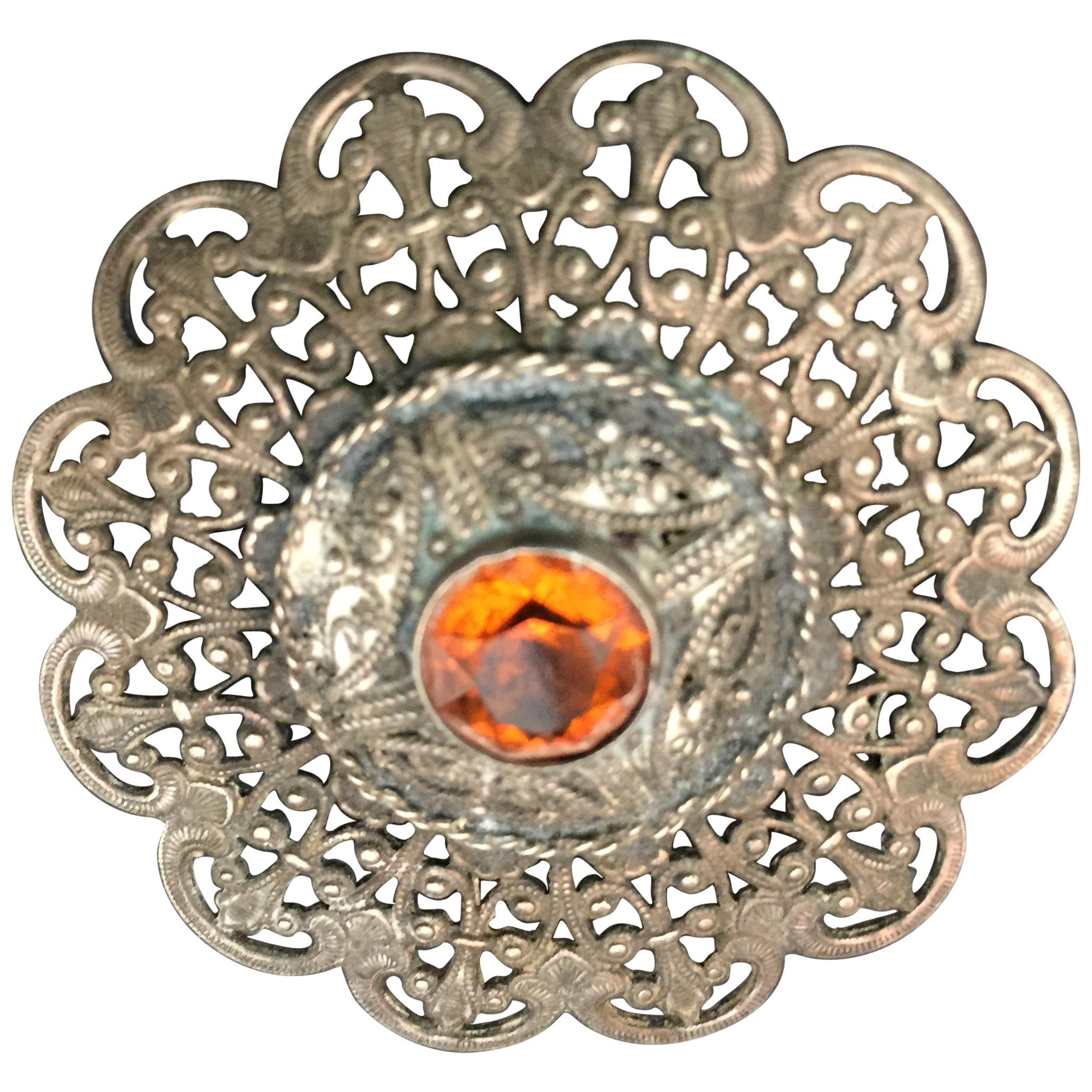 Ottoman Style Turkish Silver Brooch or Veil Pin with Moorish Filigree
