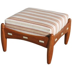 Ottoman with Antique Cotton Ticking