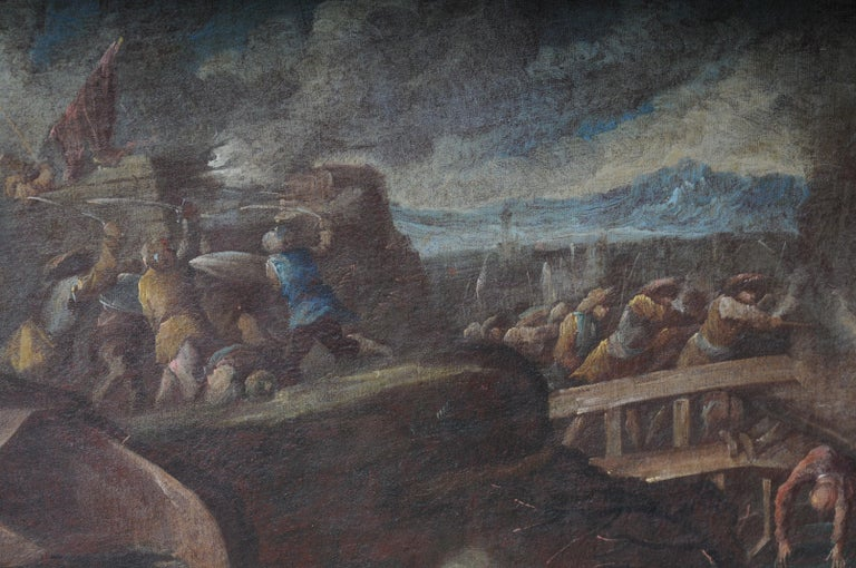 Ottomans Oil Painting  Battle Scene from 1740 For Sale 3
