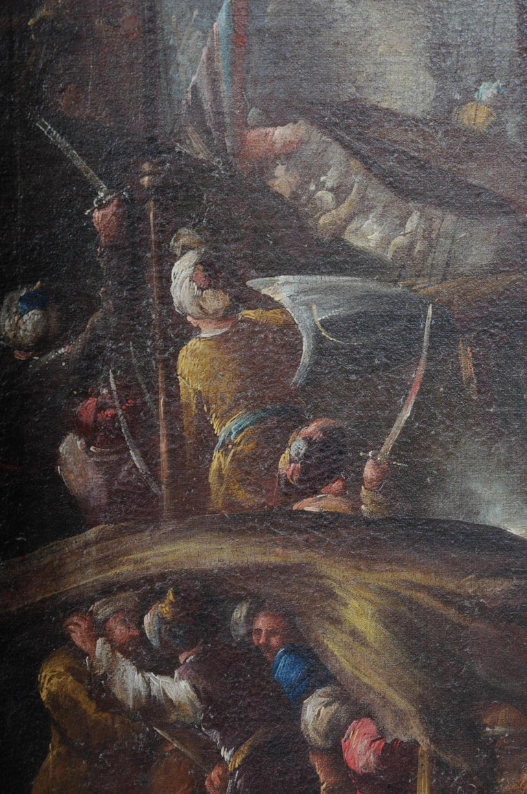 Ottomans Oil Painting  Battle Scene from 1740 For Sale 6