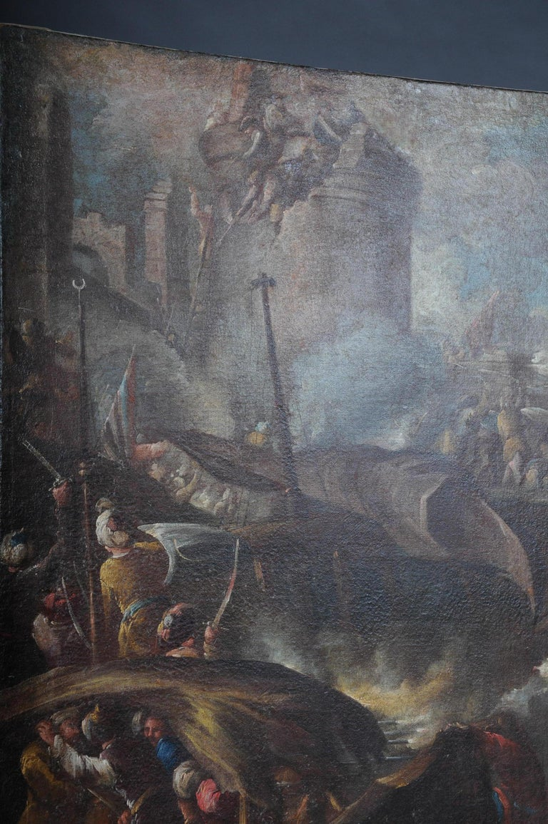 Ottomans Oil Painting  Battle Scene from 1740 For Sale 7