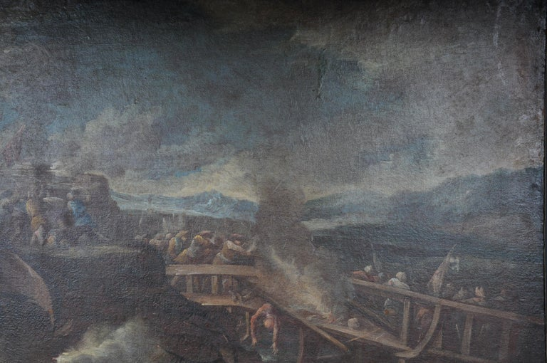 German Ottomans Oil Painting  Battle Scene from 1740 For Sale