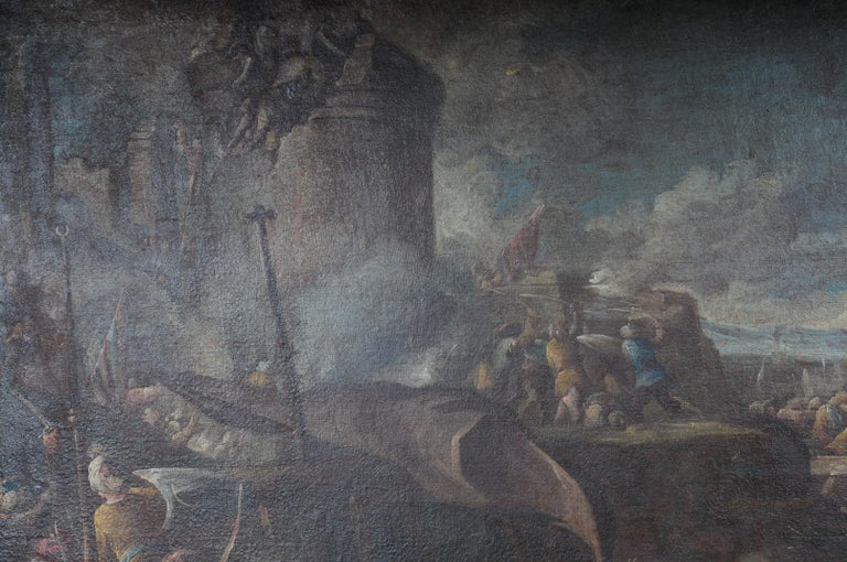 Hand-Painted Ottomans Oil Painting  Battle Scene from 1740 For Sale