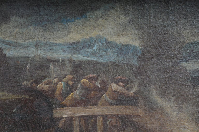 18th Century Ottomans Oil Painting  Battle Scene from 1740 For Sale