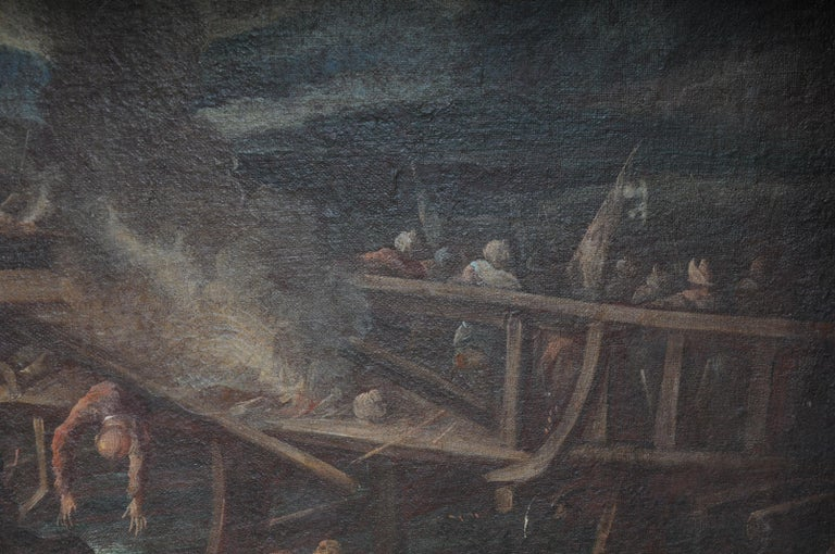 Canvas Ottomans Oil Painting  Battle Scene from 1740 For Sale