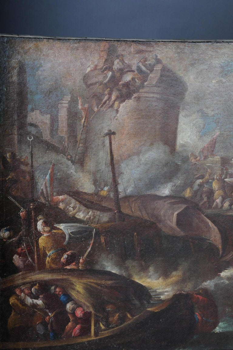 Ottomans Oil Painting  Battle Scene from 1740 For Sale 2