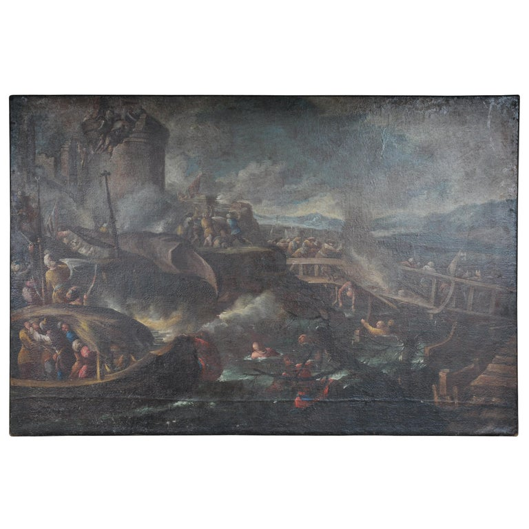 Ottomans Oil Painting  Battle Scene from 1740 For Sale