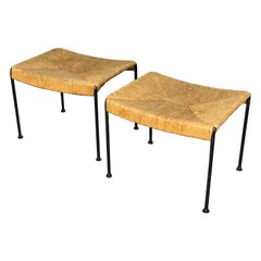 Mid Century Modern Ottomans or Stools in Rope and Iron by Arthur Umanoff