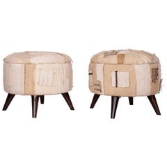 Ottomans / Poufs Upholstered with a Vintage Kilim Patchwork