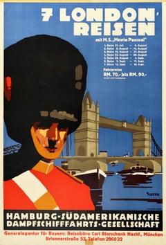 Original Vintage Cruise Travel Poster London Ft. Royal Guard Tower Bridge Thames