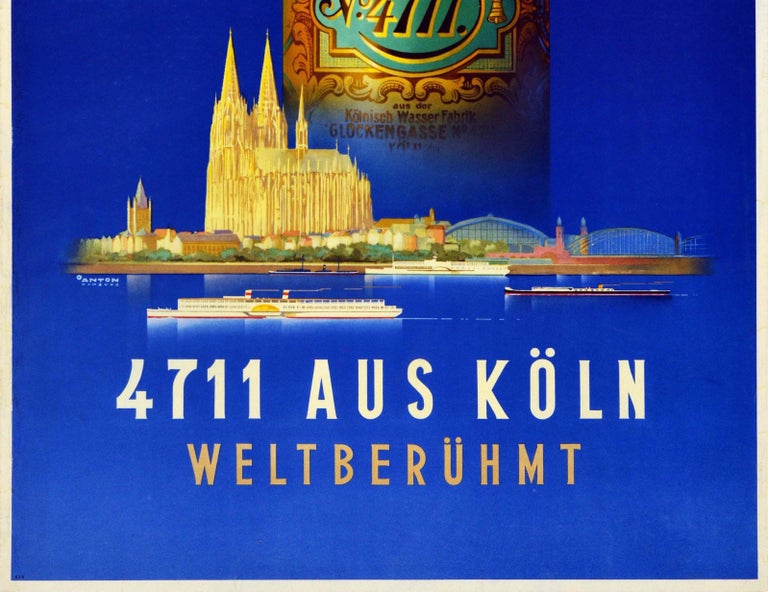 Original Vintage Perfume Advertising Poster For Eau De Cologne 4711 Koln Germany - Art Deco Print by Ottomar Anton