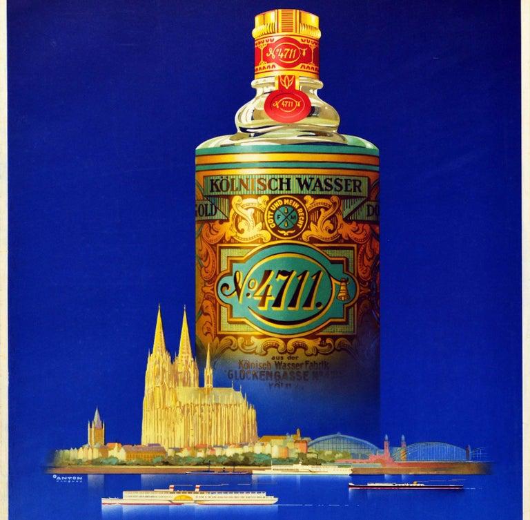 Original Vintage Perfume Advertising Poster For Eau De Cologne 4711 Koln Germany - Purple Print by Ottomar Anton