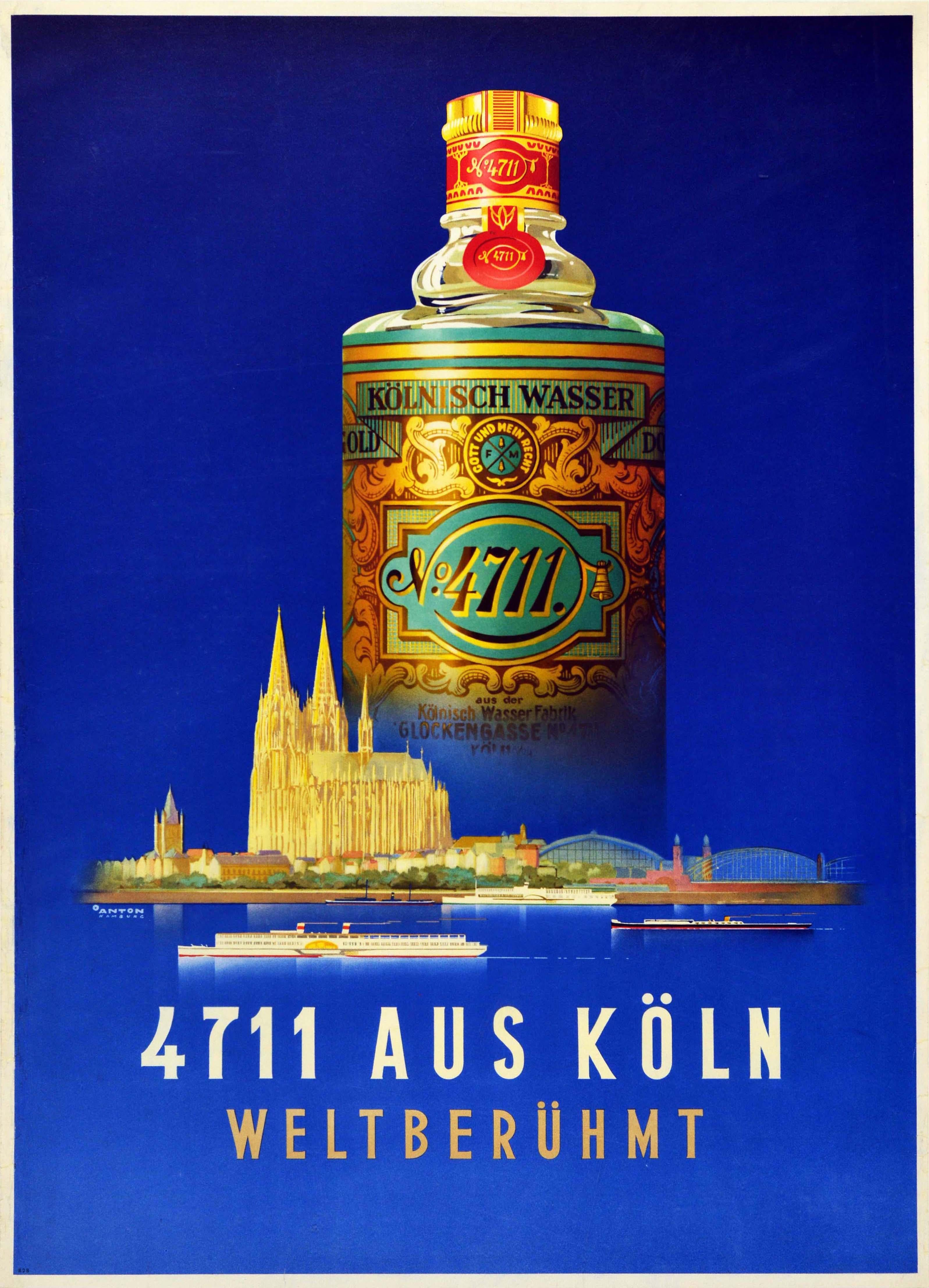 Original Vintage Perfume Advertising Poster For Eau De Cologne 4711 Koln Germany