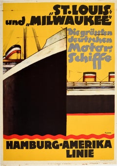 Original Vintage Poster Hamburg Amerika Line St Louis & Milwaukee Cruise Travel
