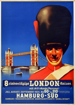 Original Vintage Travel Poster London Cruise Ft. Royal Guard Tower Bridge Design