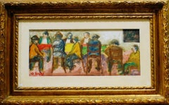 Men at the Cafè - Oil Paint on Plywood by Ottone Rosai - 1956