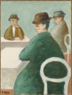 Tre uomini seduti (three seated men), Ottone Rosai, (Novecento Figurative Work)