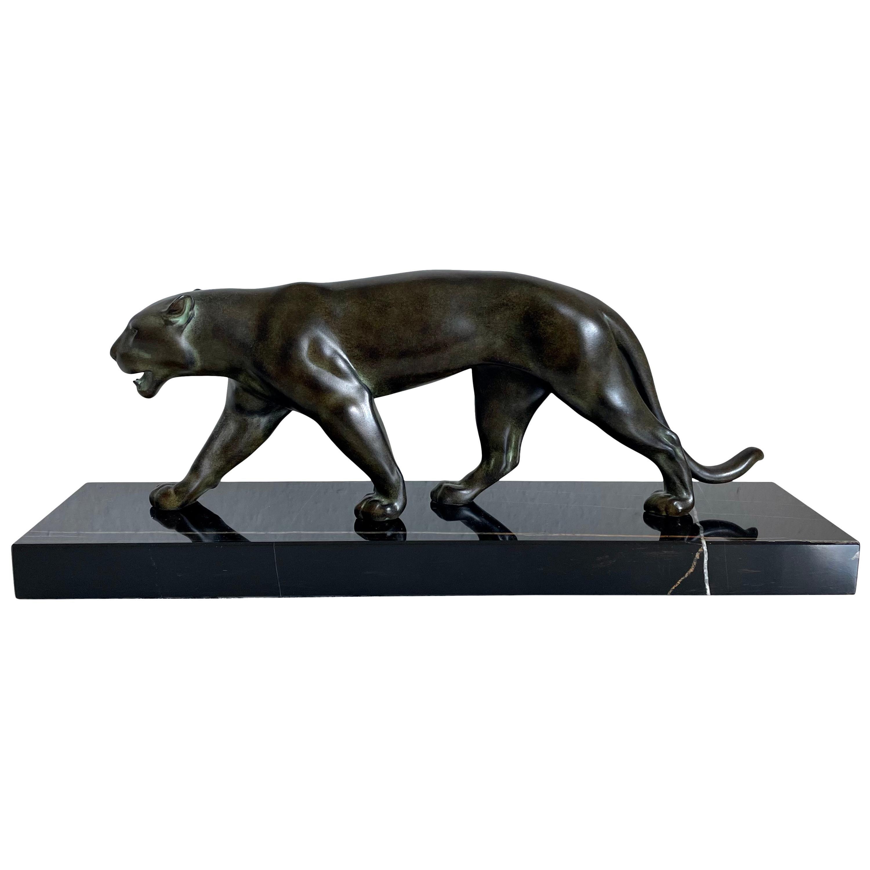 Ouganda Art Deco Style Panther Sculpture Original Max Le Verrier in Spelter